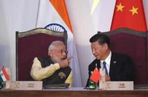 India Prime Minister Narendra Modi talking to China
