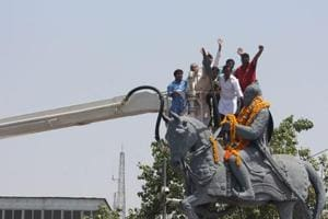 People pay tributes to 15th century Rajput king of Mear, Maharana Pratap on his birth anniversary, in Bhopal.