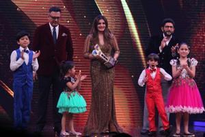 Boman Irani, Raveena Tandon and Arshad Warsi, the judges of television reality show Sabse Bada Kalakar on the sets of the show in Mumbai.