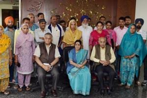 External affairs minister Sushma Swaraj with family members of 39 Indian men, who went missing after being abducted by Islamic State terrorists in Iraq in New Delhi on Sunday. Union ministers VK Singh and MJ Akbar are also seen.