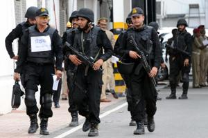 A mock drill was conducted by ATS commandos at UP Vidhan Sabha in Lucknow on Sunday.
