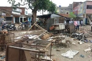 A poultry market vandalised in Keswari village in Giridh district after  a Durga idol was desecrated.