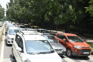 Traffic jams were reported at Connaught Place, Kasturba Gandhi Marg, Janpath and Barakhamba Road on Tuesday.