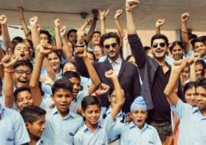 Actor Kunal Kapoor and Mohit Marwaha with school students after an interaction session at Panjab University in Chandigarh.