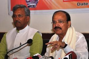 NDA vice presidential candidate Venkaiah Naidu with chief minister S Rawat during his recent visit to Dehradun.