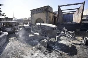 A police station in Jhajjar that was burnt by a mob. Police have floundered miserably while dealing with an unprecedented violence that the state has ever witnessed.