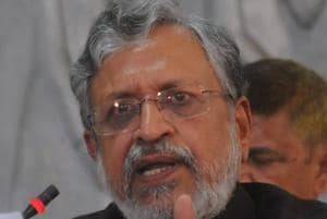 Sushil Kumar Modi addressing a press conference in Patna on Tuesday.