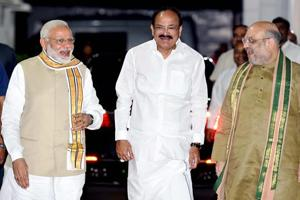 M. Venkaiah Naidu with Prime Minister Narendra Modi and BJP President Amit Shah after he was announced as the BJP