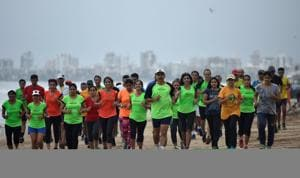 Runners taking part in the Hindustan Times Monsoon Marathon Challenge attend a training session on Tuesday.