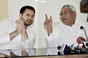 A file photo of Bihar chief minister Nitish Kumar with his deputy Tejashwi Yadav in Patna.