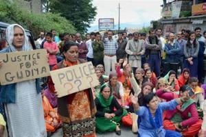 People block a road inShimla on Wednesday during a protest demanding justice for a 16-year-old schoolgirl who was allegedly raped and murdered earlier this month.