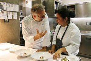 Here's Chef Massimo Bottura mentoring Akanksha Dean.