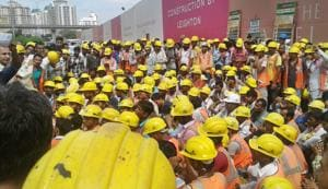 Gurgaon: Workers protest over poor food, transport at DLF-5...