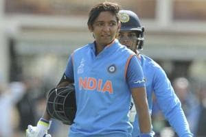 Harmanpreet Kaur (L) scored 171 not out during the Women