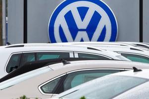 This file photo taken on September 29, 2015 shows the logo of German car maker Volkswagen at a dealership in Woodbridge, Virginia.