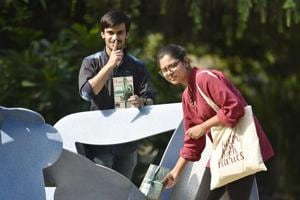 Keshav Chhabra and Shrishti Bhardwaj, members of The Book Fairies Delhi, drop books around town for people to read and then leave them for others.