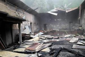 Charred remains of historic Raj Rajeswari Hall in Kurseong, the permanent venue of the town's only Durga Puja that was once patronised by families of  Subhas Chandra Bose and Rabindranath Tagore