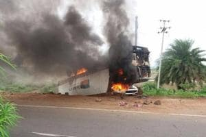 Odisha: Mob sets truck afire suspecting beef transportation