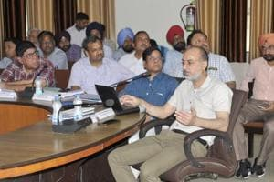 Joint secretary (industries) KS Brar, secretary, industries and commerce, Punjab, Rakesh Verma at a meeting of the state's draft industrial policy in Ludhiana on Saturday.
