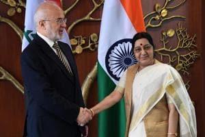 External affairs minister Sushma Swaraj shakes hands with foreign minister of The Republic of Iraq Ibrahim Al-Eshaiker Al- Jafari.