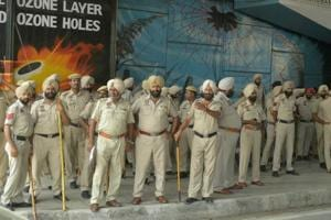 Police on security duty as memorial service of pastor Sultan Masih, who was shot dead outside a church recently, took place at a church in Salem Tabri, Ludhiana, on Monday, July 24.