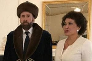 Look at this picture of Nicolas Cage in ornate Kazakhstani garb...