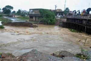 A washed away road in a flood affected area in Ranchi.