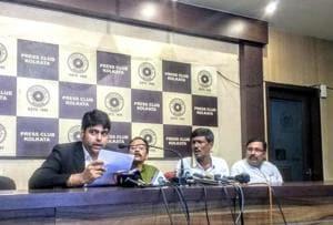 Siksha Sanskriti Utthan Nyas office bearers and their lawyer at the Kolkata Press Club on Wednesday