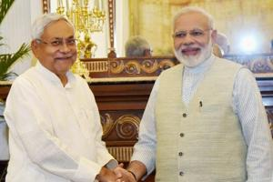 Chief minister of Bihar Nitish Kumar (L) with Prime Minister Narendra Modi in New Delhi.