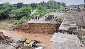 Rain fury: NH-73 caves in at four spots in Panchkula