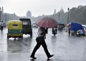 New Delhi, India - July 25, 2017: A rain in the capital during the daytime during the monsoon in New Delhi, India, on Tuesday, July 25, 2017. (Photo by Ravi Choudhary/ Hindustan Times)