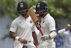Cheteshwar Pujara, Shikhar Dhawan mock SL attack in Galle Test | video...