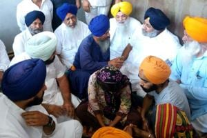 Former deputy chief minister Sukhbir Badal during  his visit to Terah Kalan in Amritsar on Wednesday.