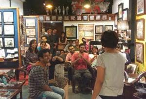 Sonal Bhandari Biyani addresses an audience at the aPaulogy art gallery in Worli, during an open mic organised by Chalta Hai Comedy that she went on to win, in 2015.