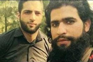 Zakir Musa (seen here with Hizbul militant Burhan Wani whose death sparked off turmoil in Kashmir) was named al-Qaeda commander in Kashmir. (File Photo)