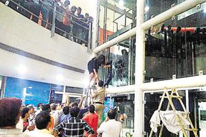 Twenty people, including six female employees of a multi-national company, were stuck in an elevator at Sector 53's South Point Mall for close to 90 minutes at midnight onSaturday.