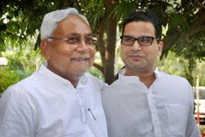 Bihar chief minister Nitish Kumar with Prashant Kishor after forming the so-called grand alliance in Bihar.