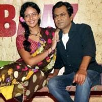 Bollywood actors Nawazuddin Siddiqui and Bidita Bag during the trailer launch of their upcoming film Babumoshai Bandookbaaz. PTI Photo(PTI7_11_2017_000125A)