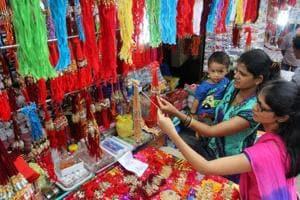 Colorful rakhis displayed in Jamblinaka Market in Thane.