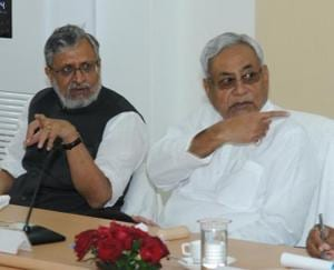CM Nitish Kumar (right) and deputy CMSushil Modi at a meeting with ministers, in Patna on Wednesday.