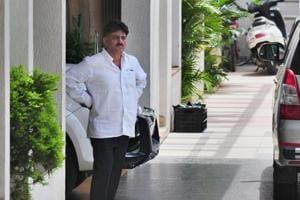 Karnataka energy minister D K Shivakumar at his residence in Bengaluru on August 2.