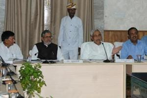 Bihar chief minister Nitish Kumar holding a meeting of education department in Patna on Thursday .