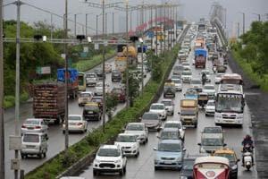 Traffic from Vashi creek bridge to Mankhurd in Mumbai, India, on August 2, 2017.