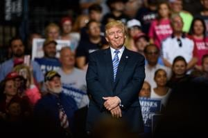 Donald Trump at a rally in Huntington, West Virginia on August 3, 2017.