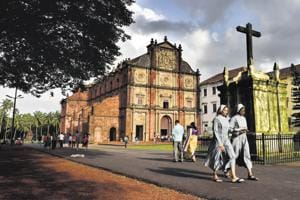 Visitors at the Basilica of Bom Jesus. Though Catholics are a minority in the state, the beautiful churches of old Goa continue to draw tourists and the devout from across the world.