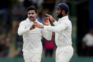 Ravindra Jadeja (L) and Cheteshwar Pujara played decisive roles for India in the second Test against Sri Lanka at Colombo.