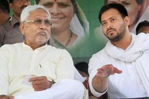CM Nitish Kumar with his deputy, Tejashwi Yadav, when the grand alliance government was in office in Bihar.