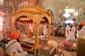 Devotees at the Baba Bakala gurdwara near Amritsar on the eve of Rakhar Punia.