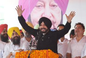 Navjot Singh Sidhu Punjab addressing a rally near Amritsar on Monday.