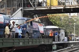 The Mosquito Terminator Train is run jointly by Northern Railway and SDMC. A truck mounted sprayer is loaded on to a low-platform bogey. The officials spray Insecticide to check mosquito breeding in the water and drains along side the railway tracks in Delhi area.